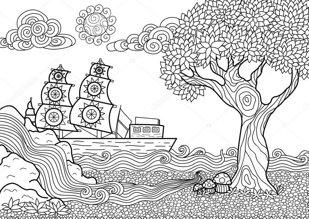 Krajobraz coloring #18, Download drawings
