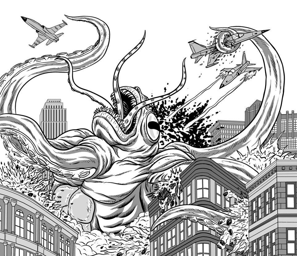 Kraken coloring #1, Download drawings