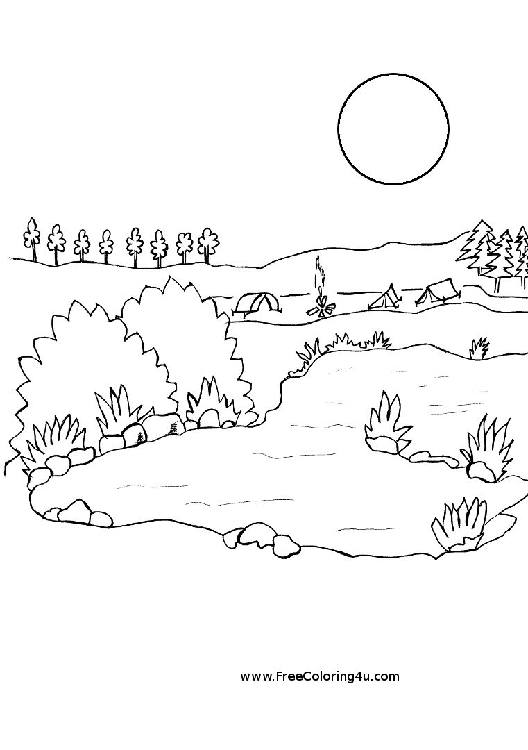 Lake coloring #9, Download drawings