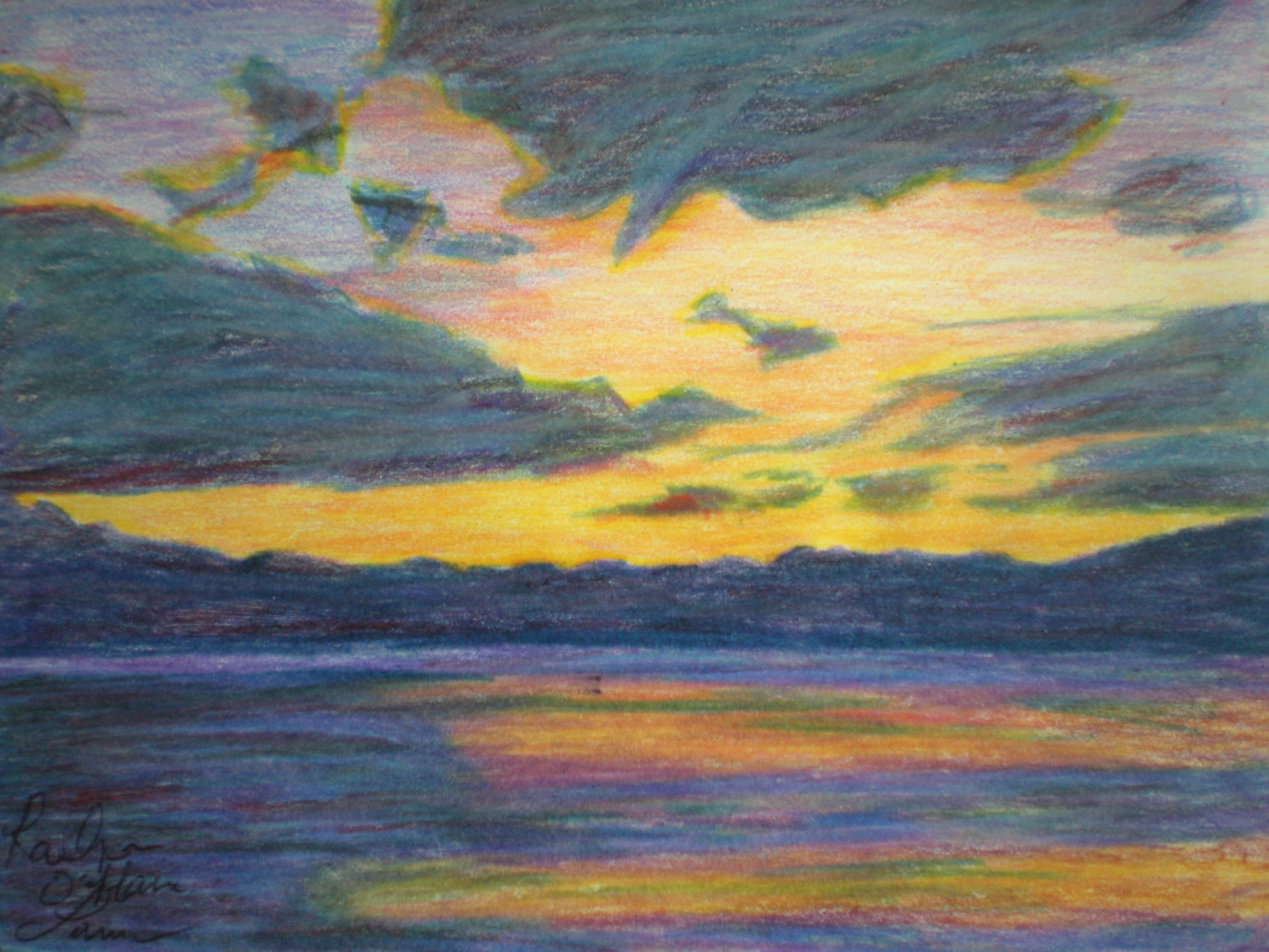 Lake Sunset coloring #5, Download drawings