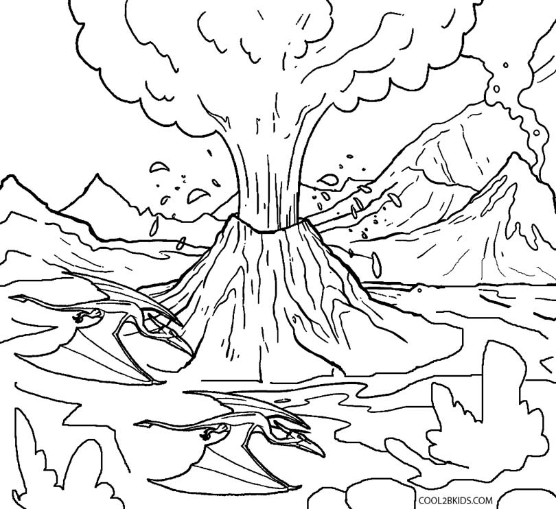 Volcano coloring #13, Download drawings