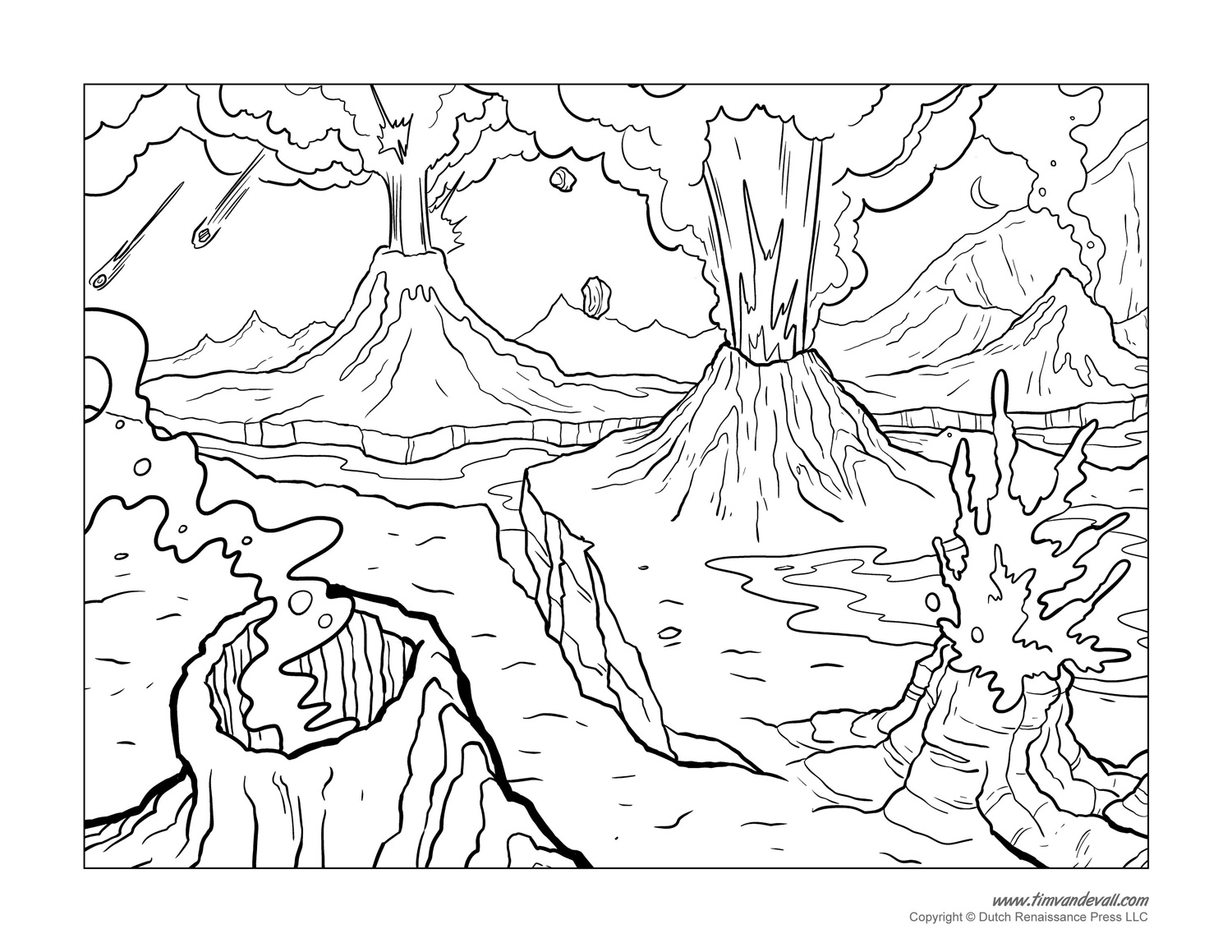 Island Volcano Eruption coloring #8, Download drawings