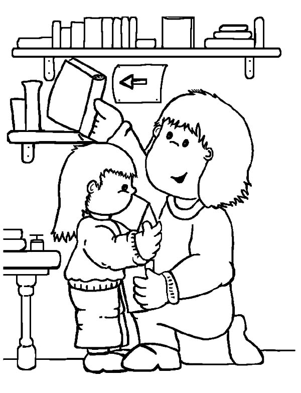 Library coloring #11, Download drawings