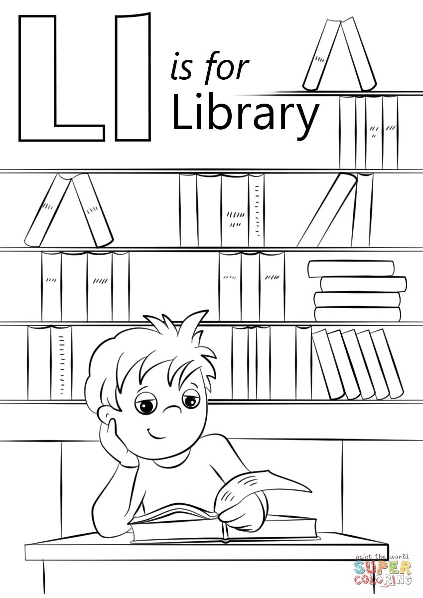 Library coloring #10, Download drawings
