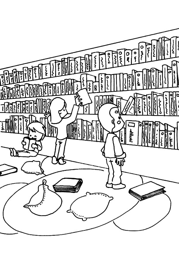 Library coloring #3, Download drawings
