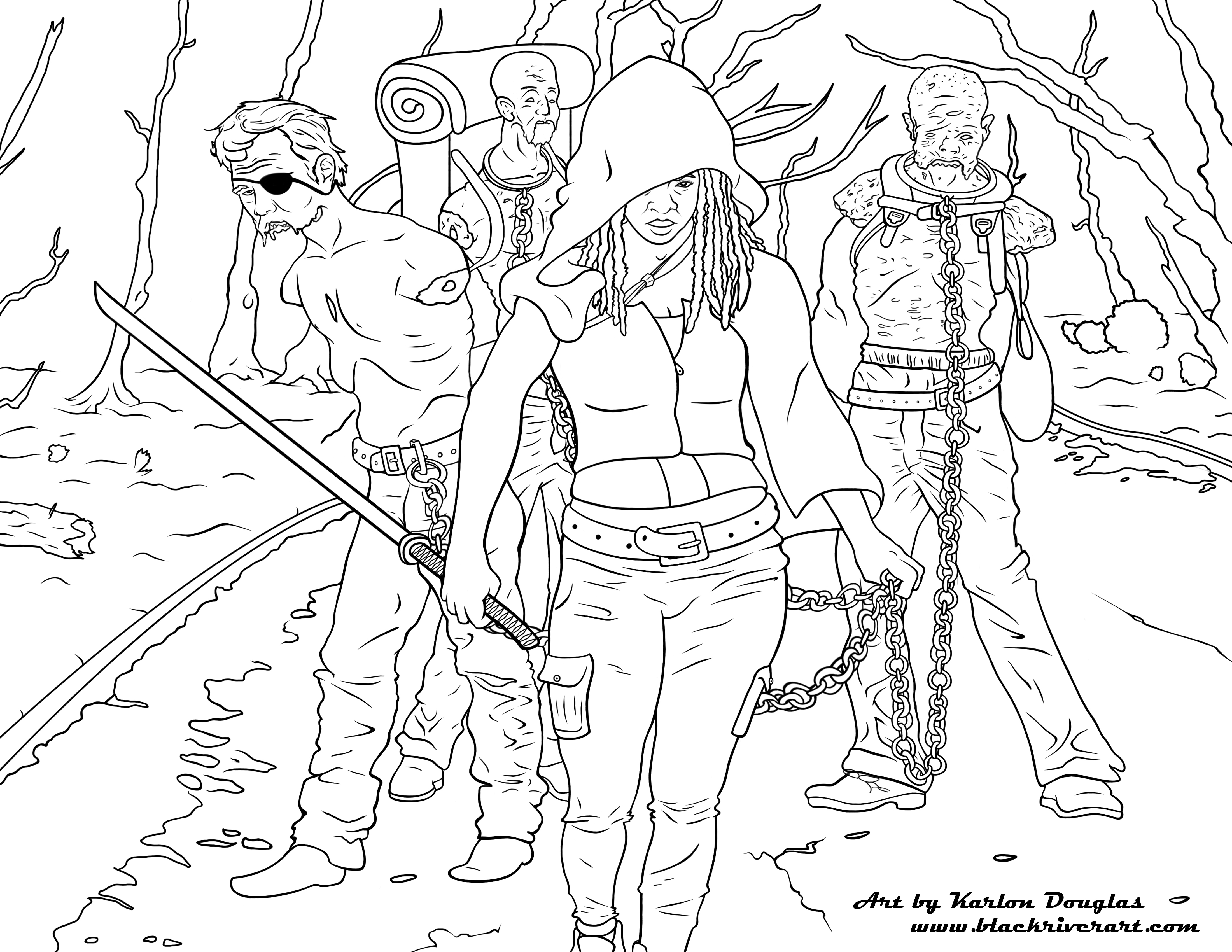Lost Girl In Dark Forest coloring #2, Download drawings