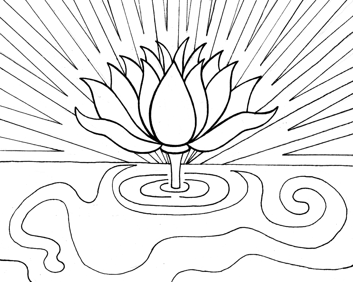 Lotus coloring #1, Download drawings