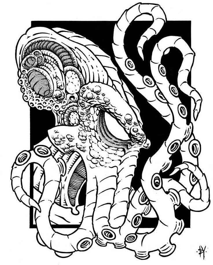 Lovecraft coloring #3, Download drawings