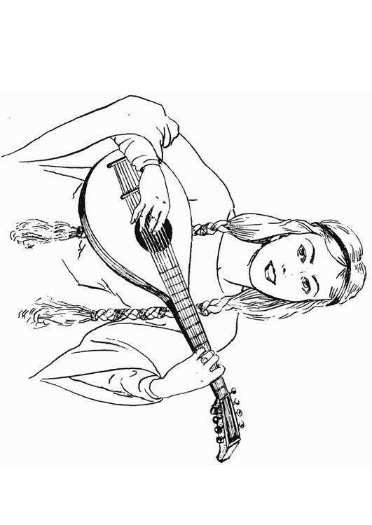 Lute coloring #4, Download drawings