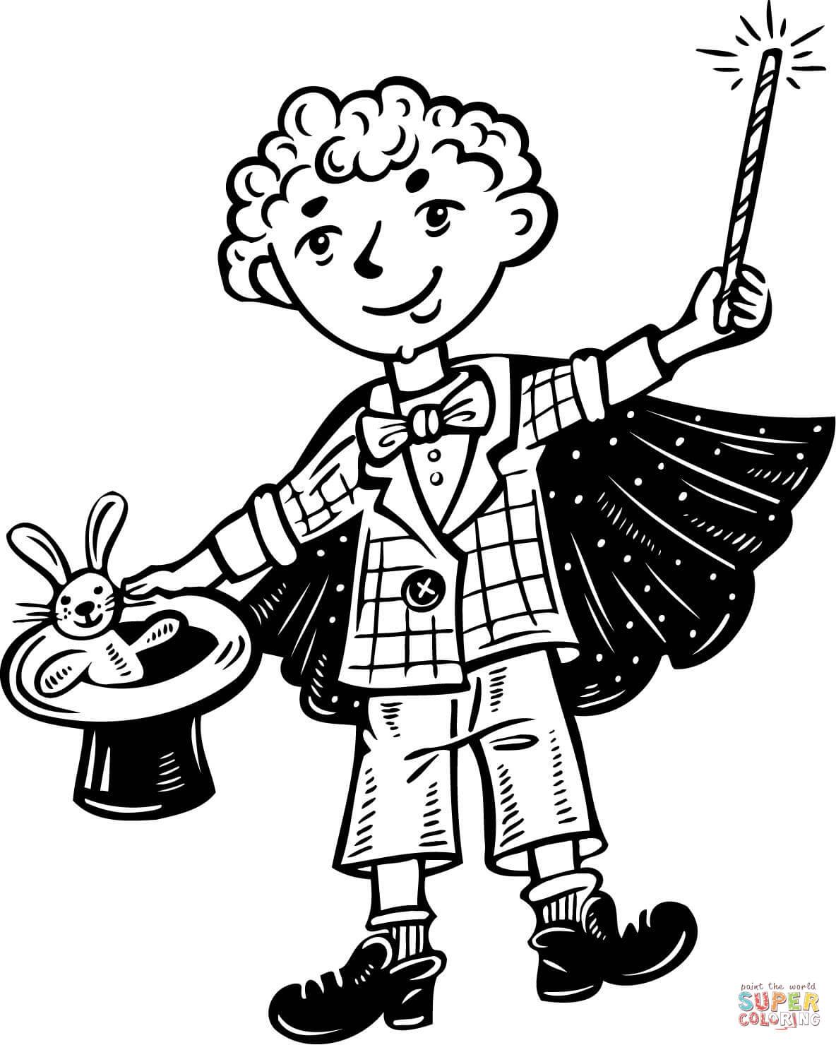 Magician coloring #12, Download drawings