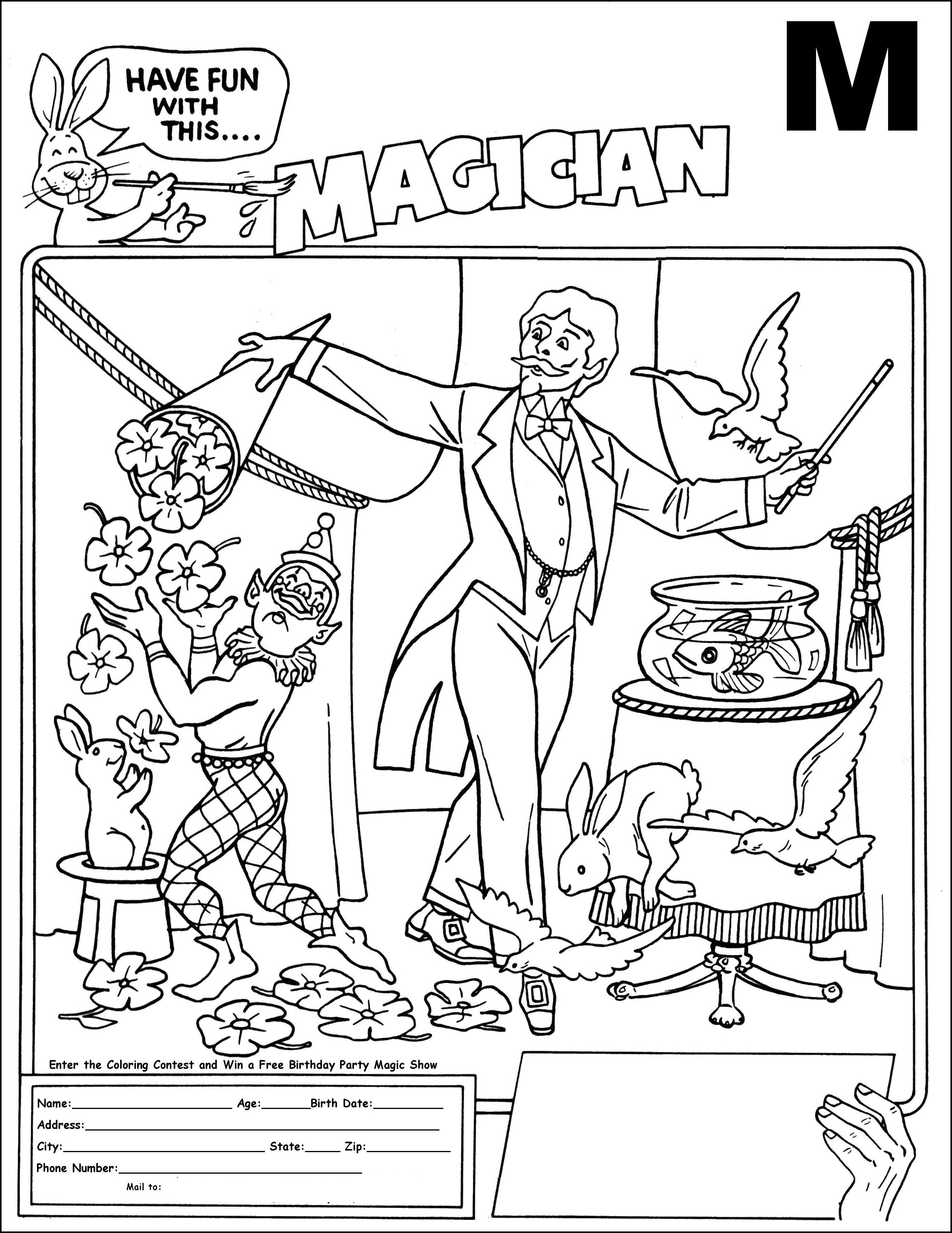 Magician coloring pages ~ Magician coloring, Download Magician coloring for free 2019