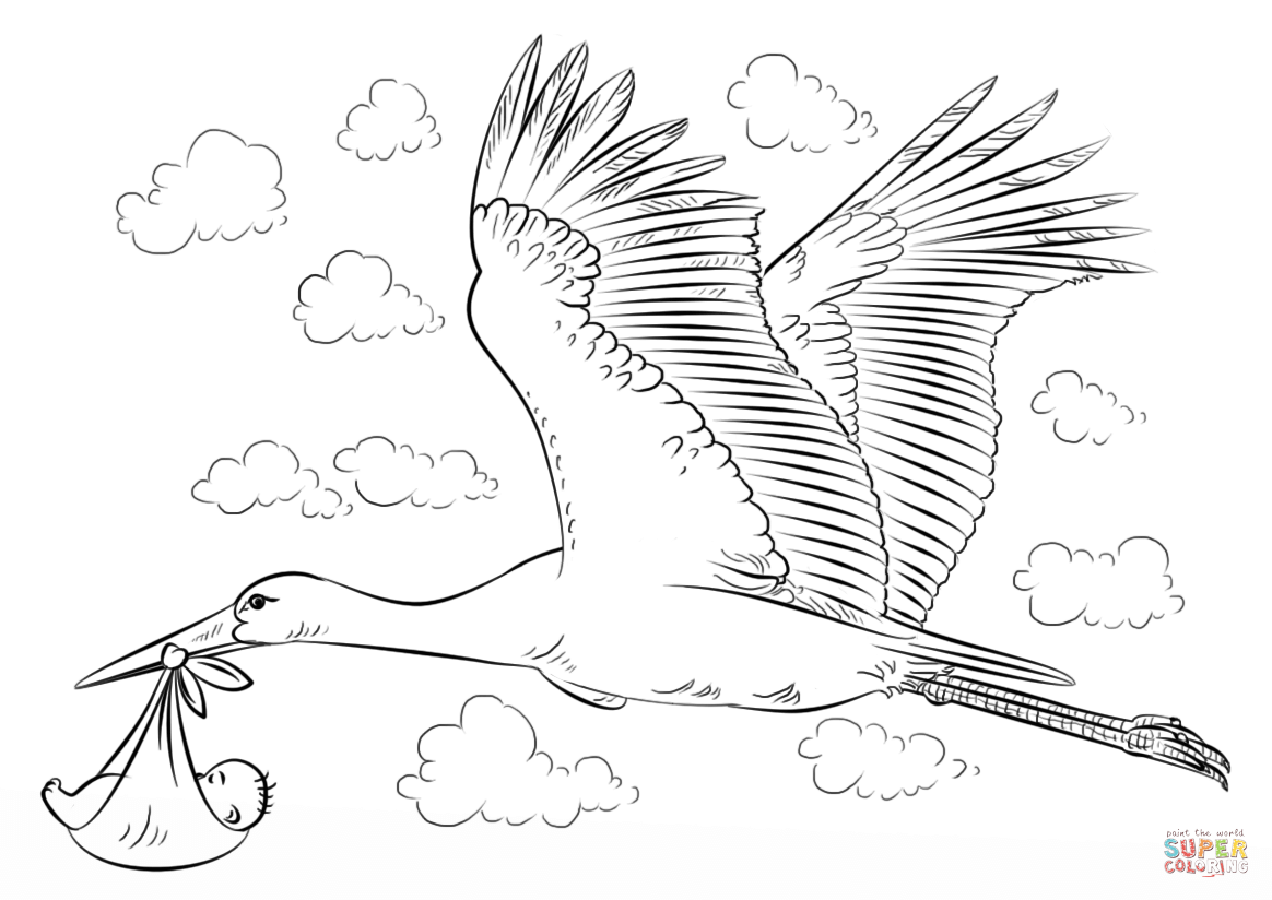 Stork coloring #2, Download drawings