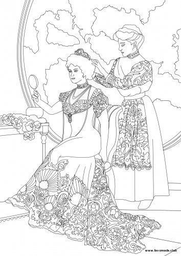Maid coloring #2, Download drawings