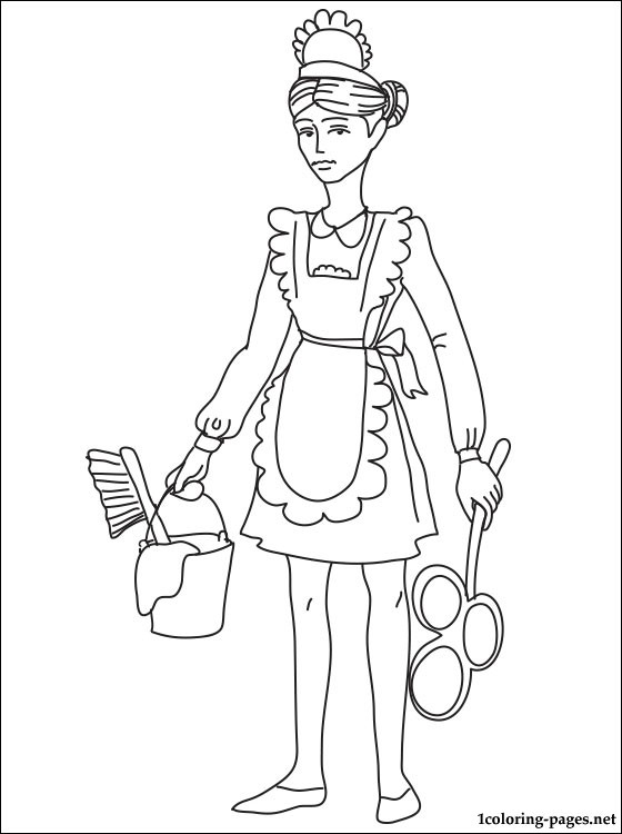 Maid coloring #6, Download drawings