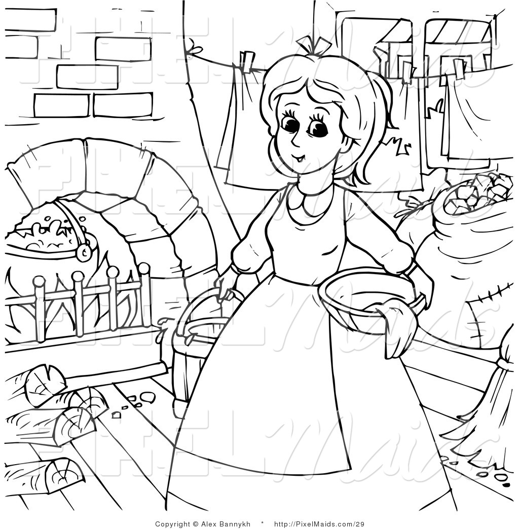 Maid coloring #5, Download drawings