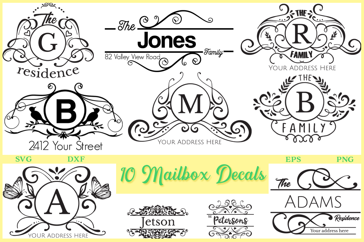 mailbox decal svg #990, Download drawings
