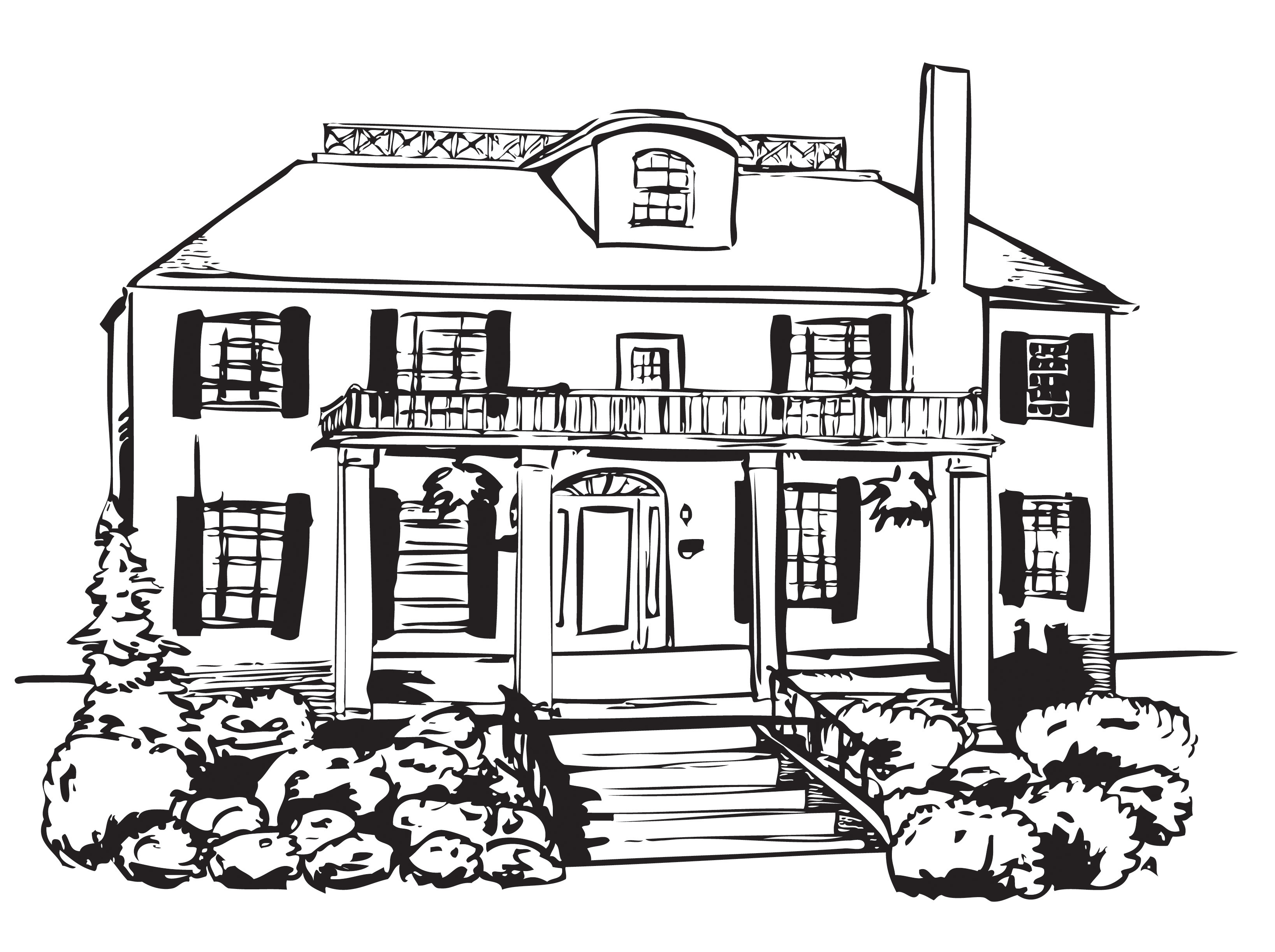 Mansion coloring #3, Download drawings