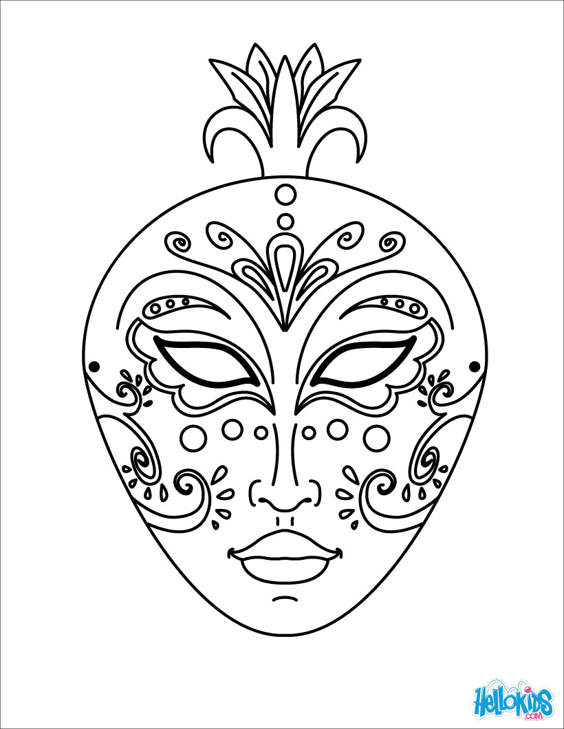 Mask coloring #10, Download drawings