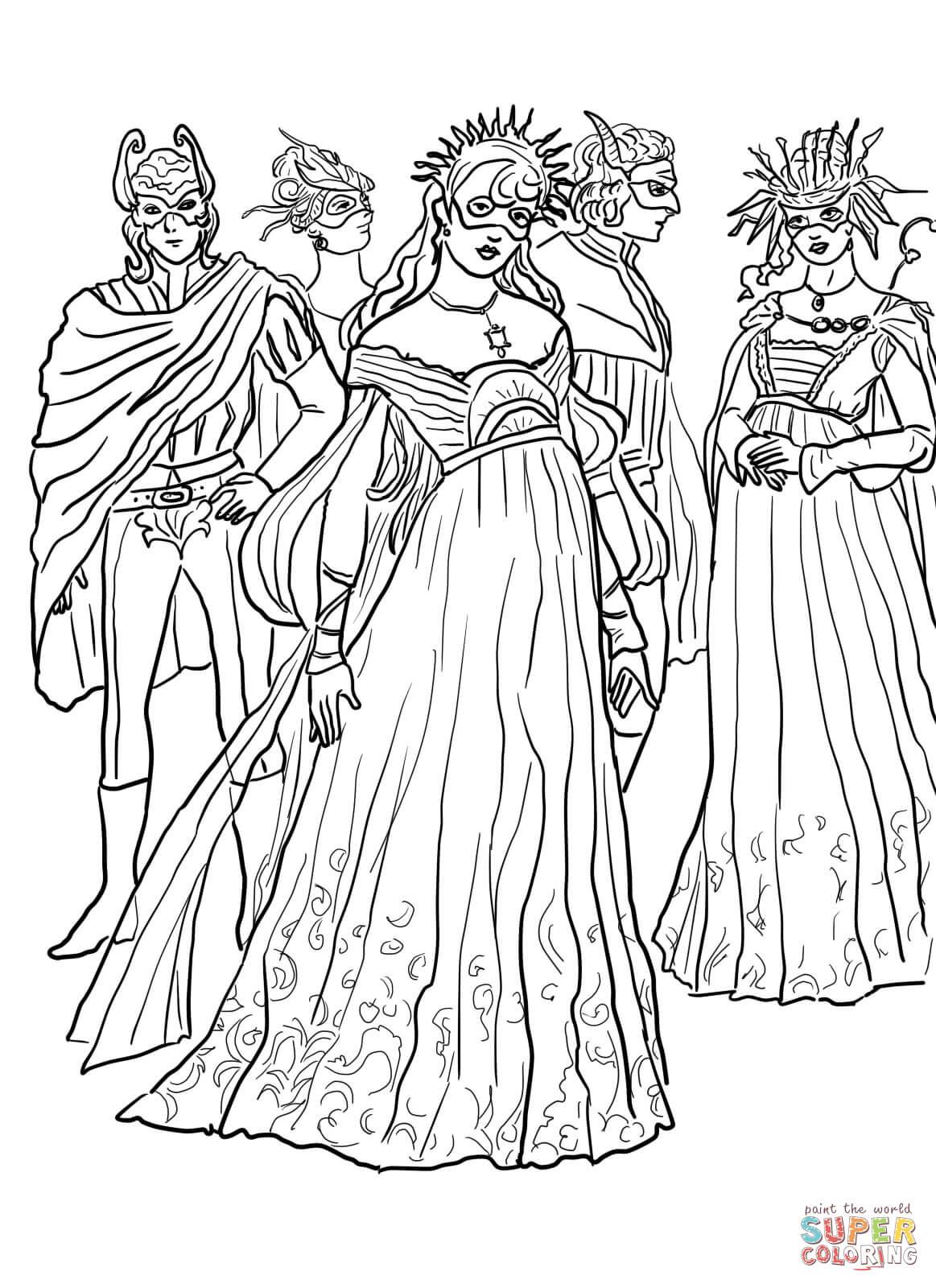 Masquerade coloring #1, Download drawings