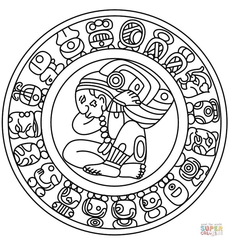 Mayan coloring #18, Download drawings
