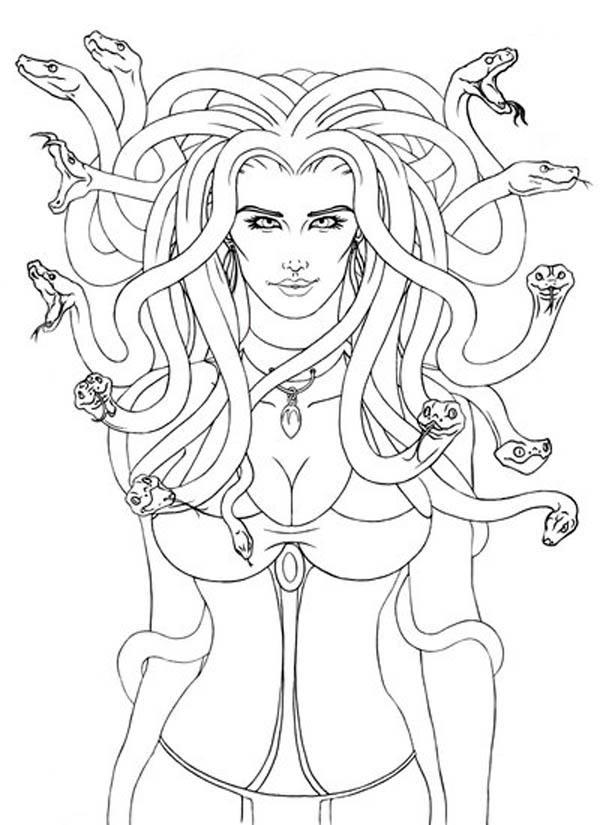 Medusa coloring #3, Download drawings