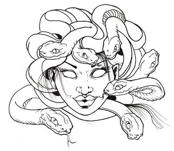 Medusa coloring #4, Download drawings