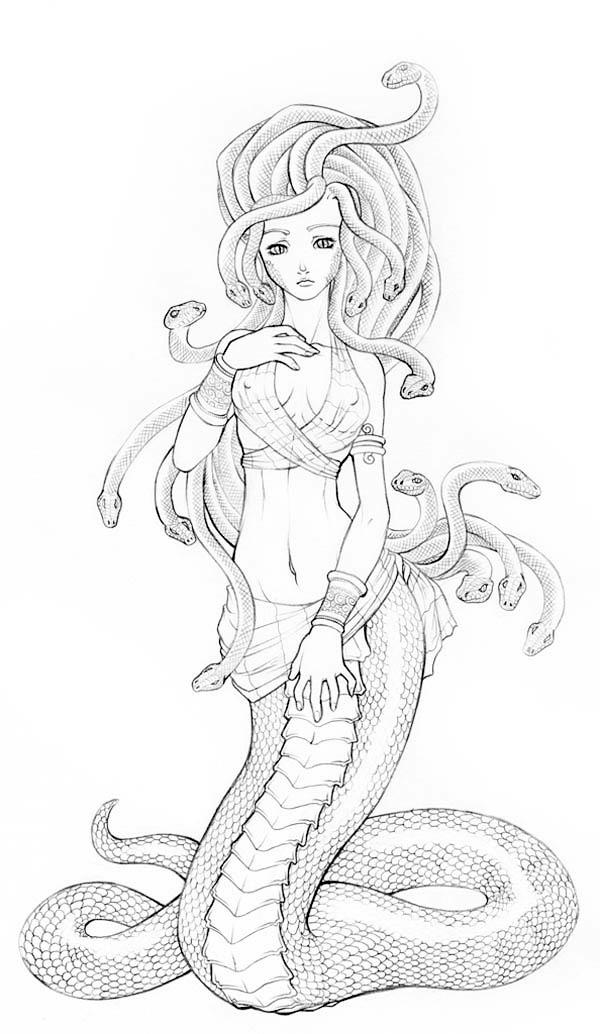 Medusa coloring #7, Download drawings