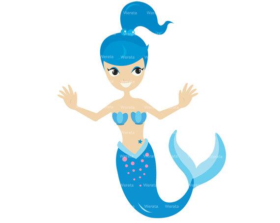 Mermaid clipart #3, Download drawings