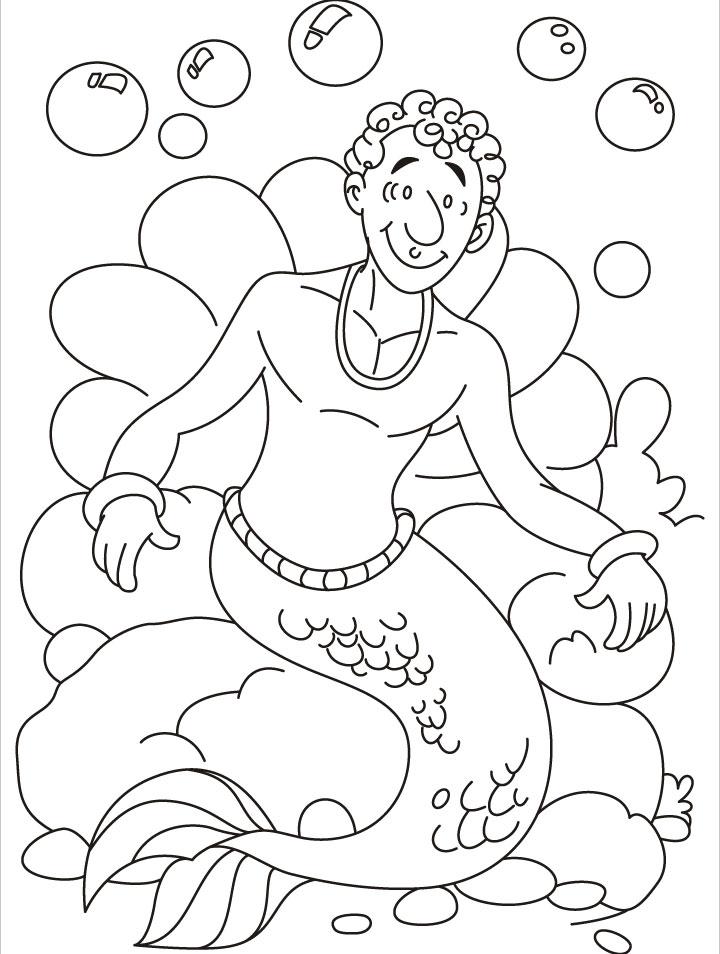 Merman coloring #2, Download drawings