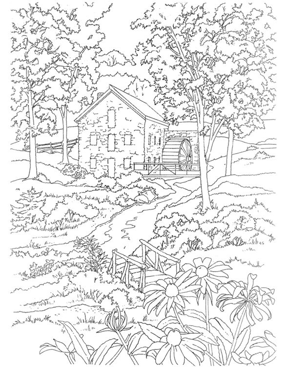 Mill coloring #12, Download drawings