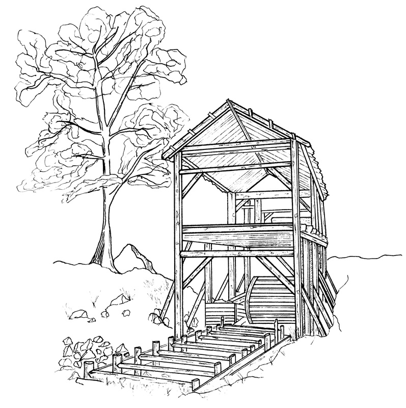 Mill coloring #7, Download drawings