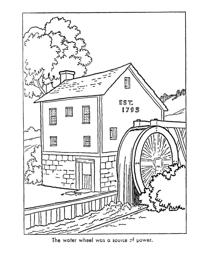 Watermill coloring #17, Download drawings