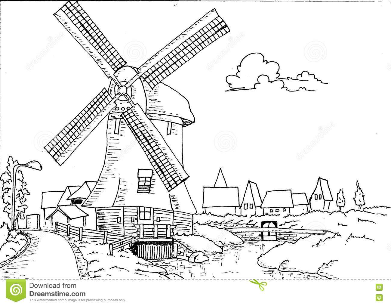 Mill coloring #19, Download drawings