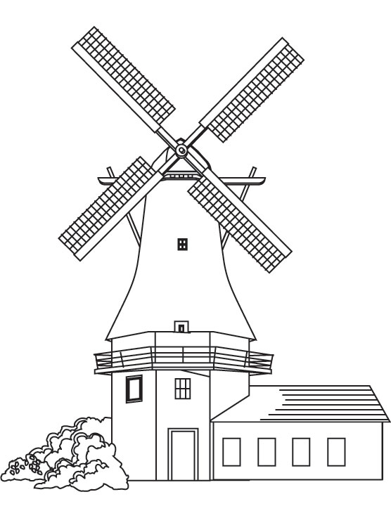 Mill coloring #3, Download drawings