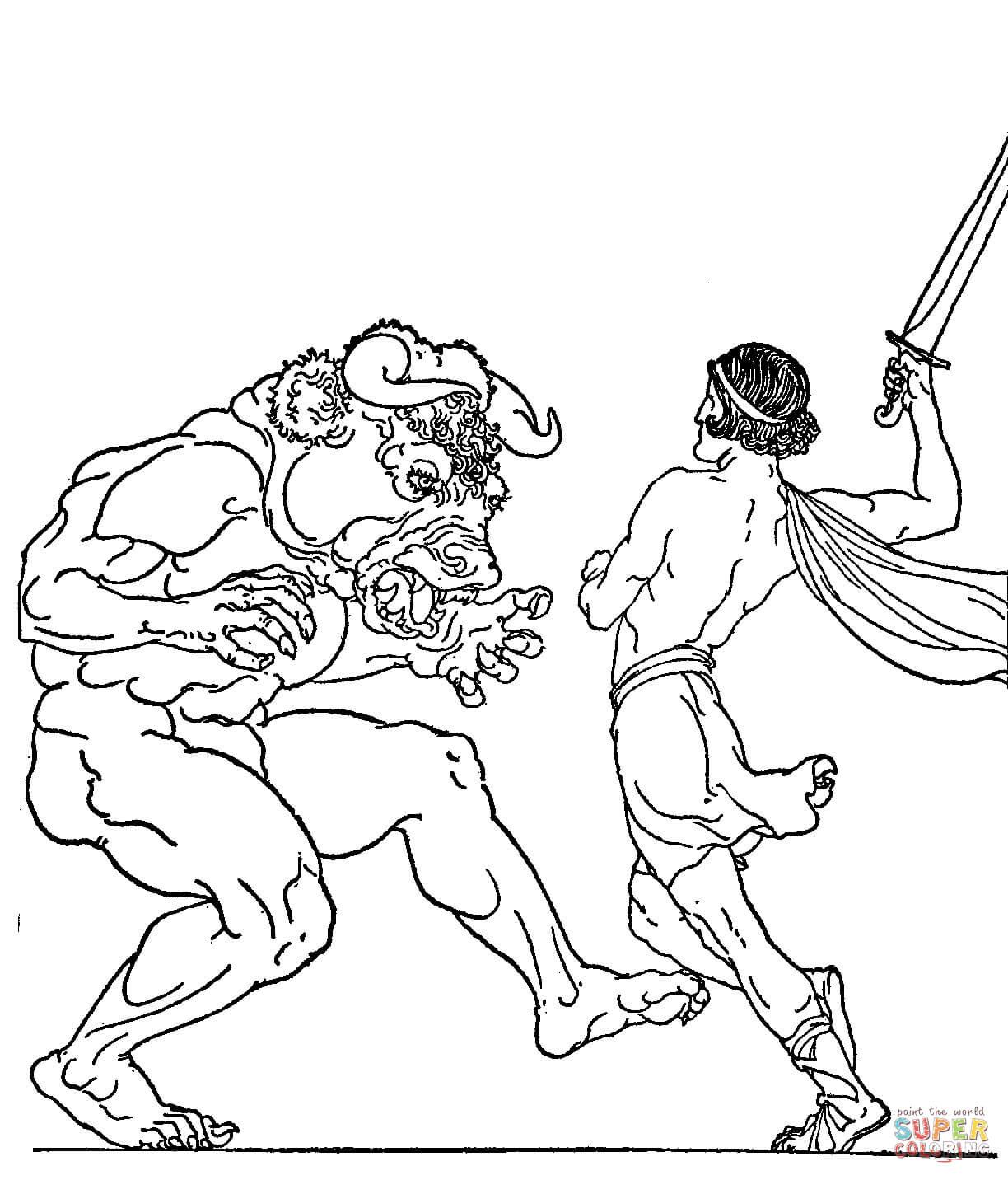 Minotaur coloring #6, Download drawings