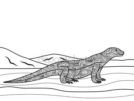 Monitor Lizard coloring #3, Download drawings