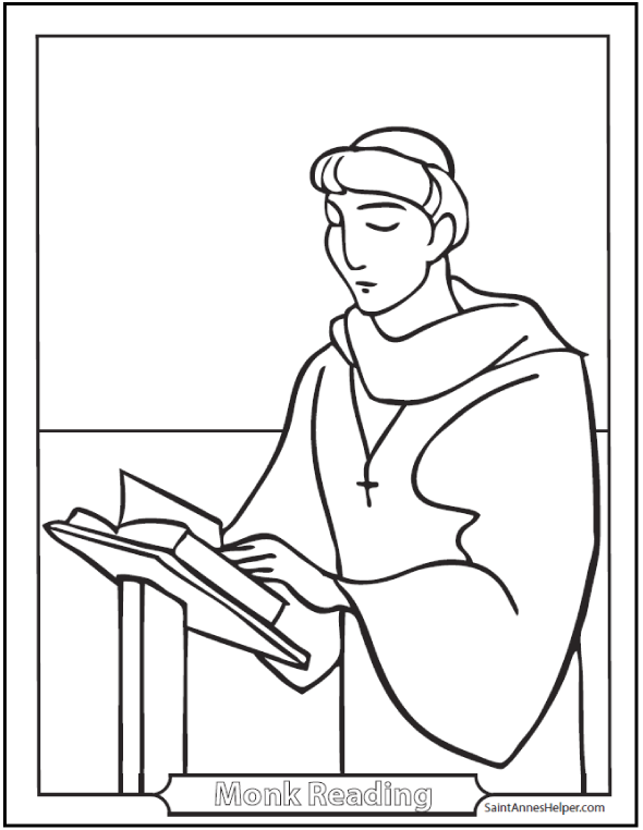 Monk coloring #14, Download drawings