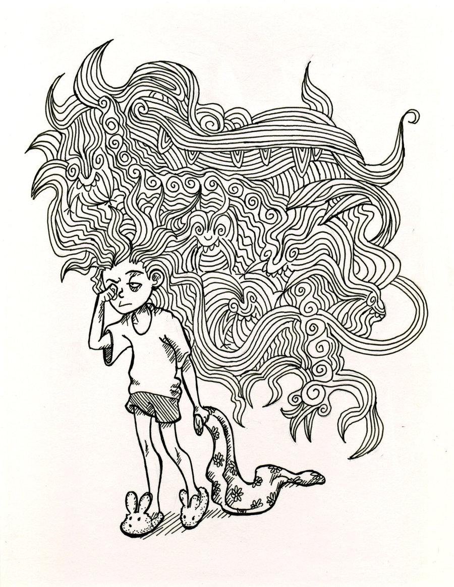 Monsters  Bed Head coloring #3, Download drawings