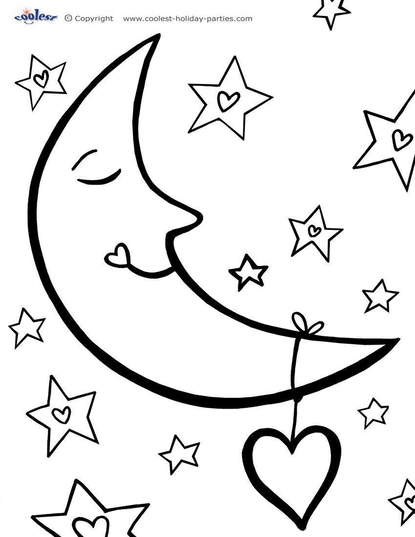 Moon coloring #7, Download drawings