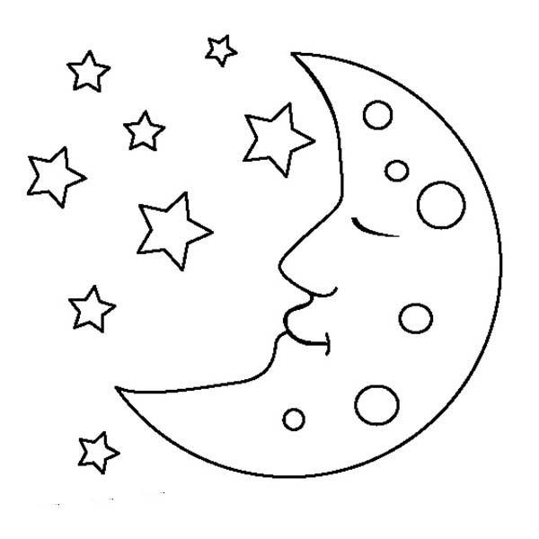 Moon coloring #3, Download drawings