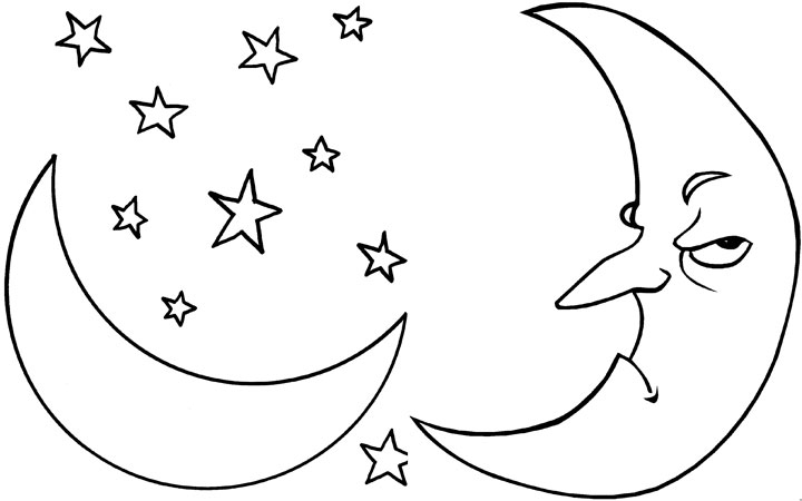 Moon coloring #17, Download drawings