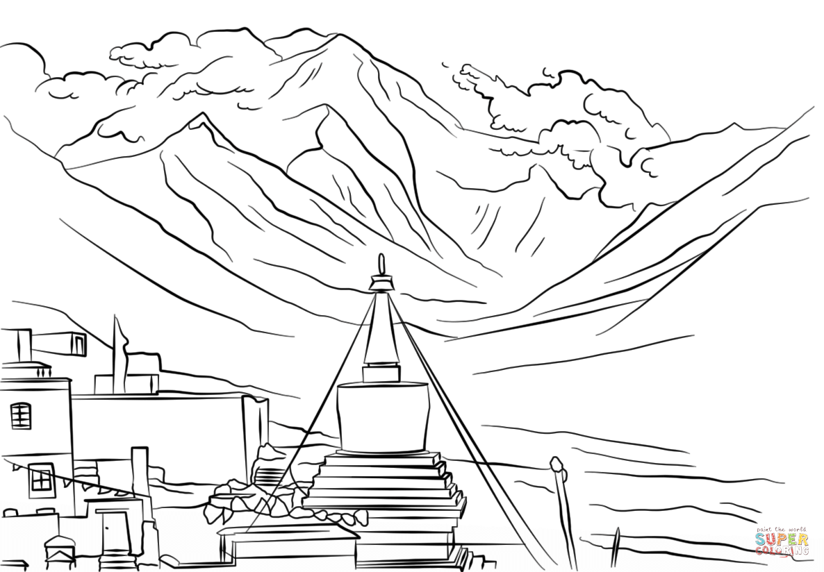 Mount Everest coloring #3, Download drawings