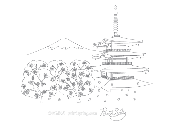 Mount Fuji coloring #8, Download drawings