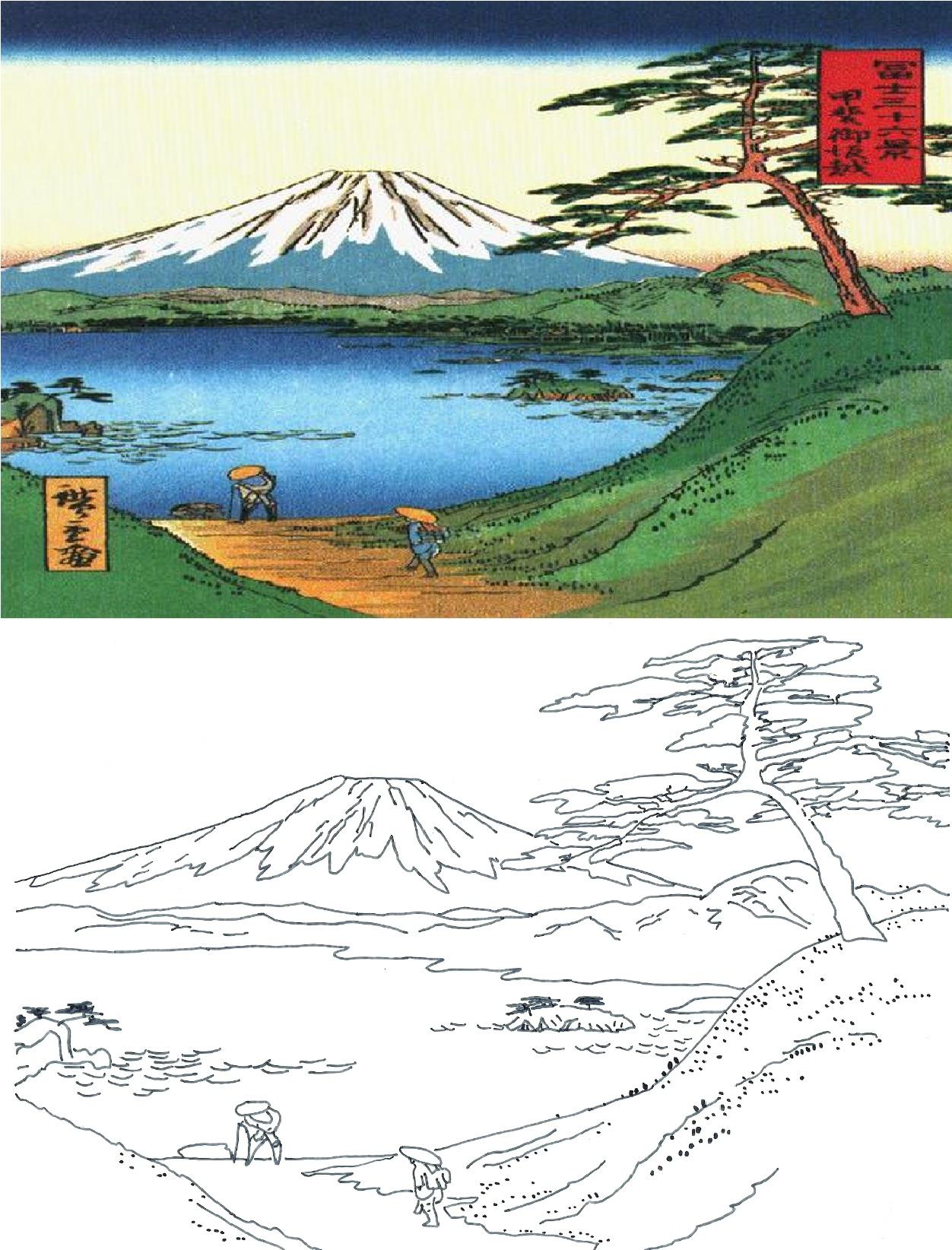 Mount Fuji coloring #18, Download drawings