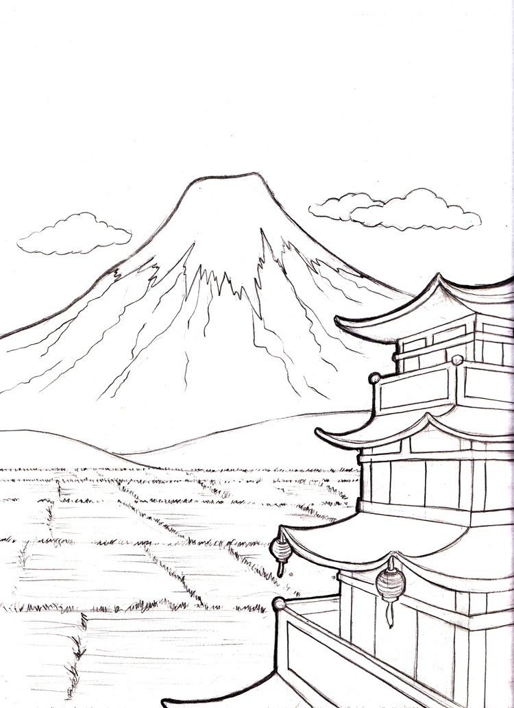 Mount Fuji coloring #1, Download drawings