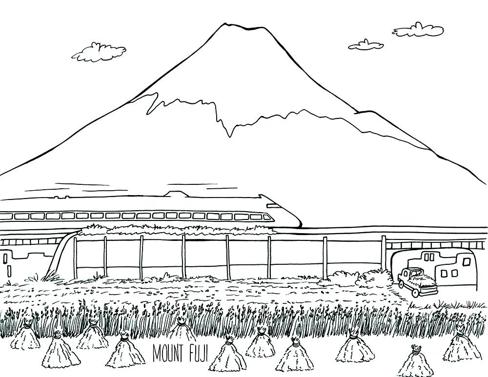 Mount Fuji coloring #16, Download drawings