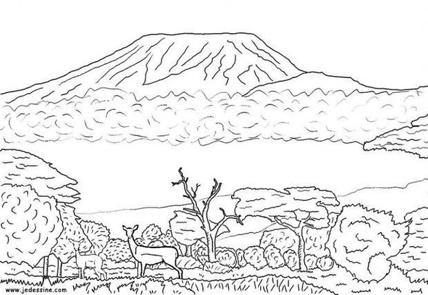 Mount Kilimanjaro coloring #1, Download drawings