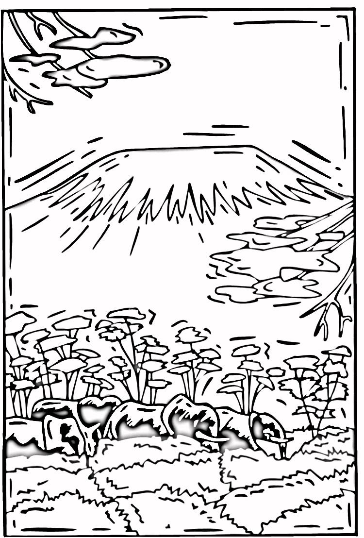 Mount Kilamanjaro coloring #5, Download drawings