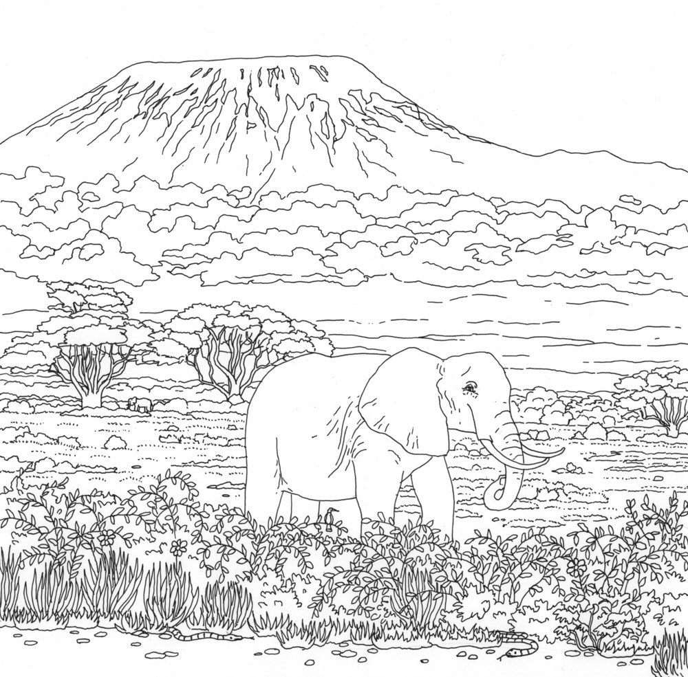 Mount Kilamanjaro coloring #3, Download drawings