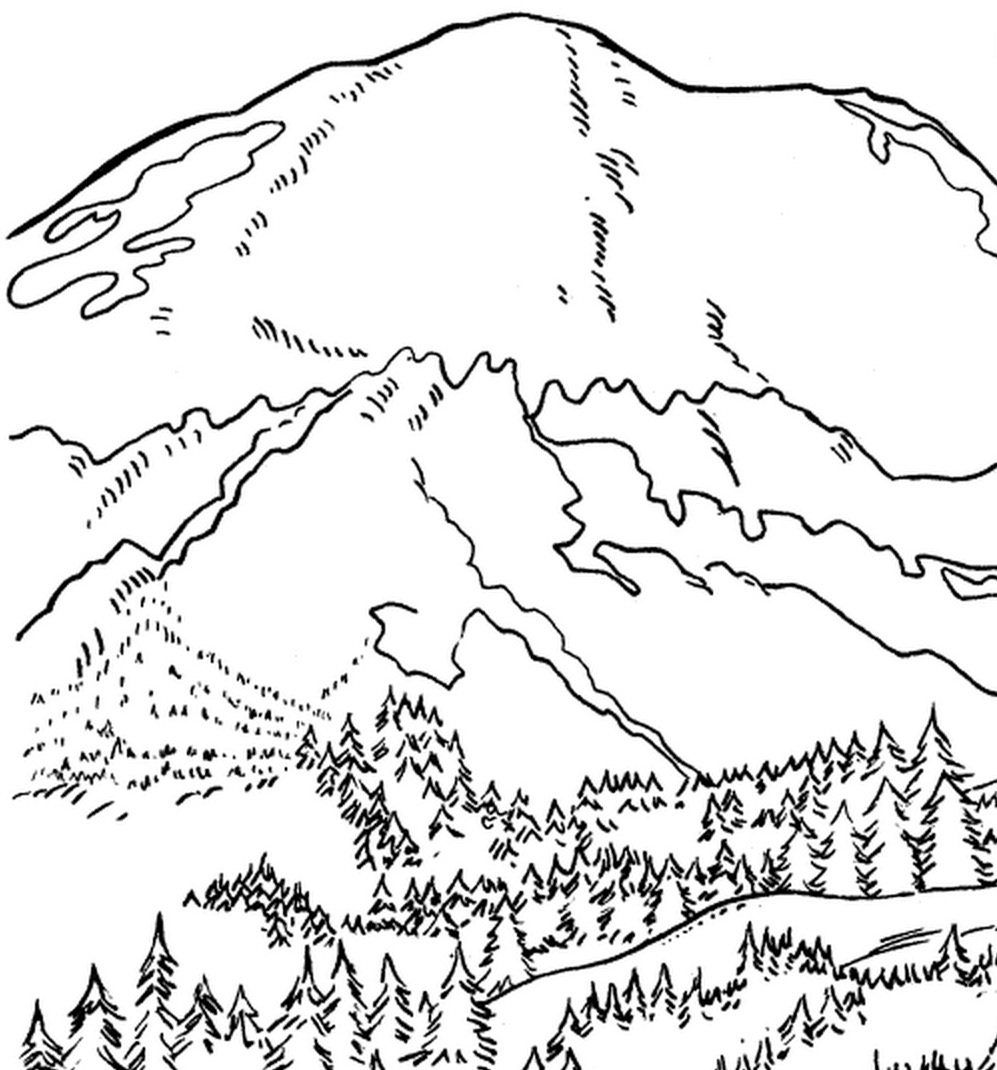Mount Rainier coloring #8, Download drawings